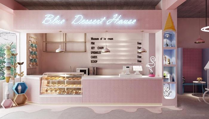 北欧粉粉甜品店 北欧餐饮 甜品店 冰淇淋店 收银台 接待台 冲孔版 桌椅组合 玄关台 吊灯