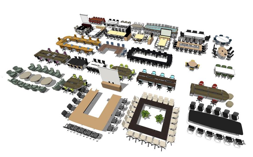 会议室家具组合SU模型