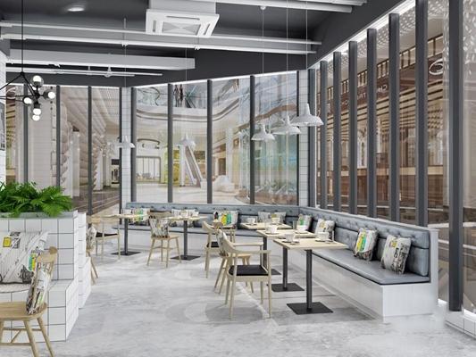 工业风甜品店 工业风餐饮空间 卡座 吊灯 椅子 桌子 多人沙发 茶几 休闲椅 植物墙