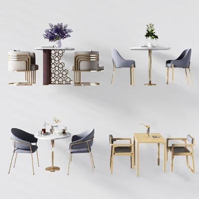 现代桌椅组合3D模型