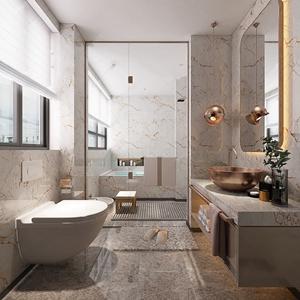 现代轻奢卫生间 现代卫浴 洗手台 马桶 单头吊灯 浴缸