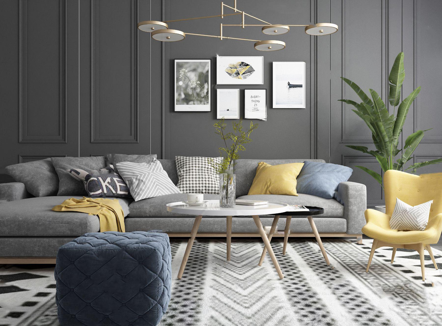 北欧绒布拐角组合沙发3d模型