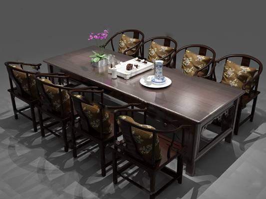中式茶桌椅3D模型下载