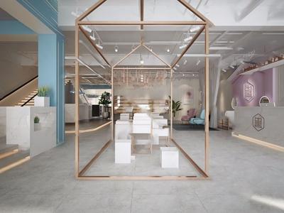 现代花店 现代商业零售 装饰架 凳子 吧台 小清新 单人沙发 吊椅