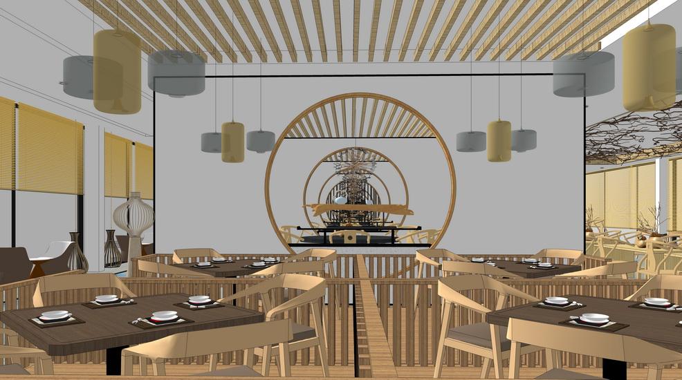 现代禅意餐厅室内设计SU模型