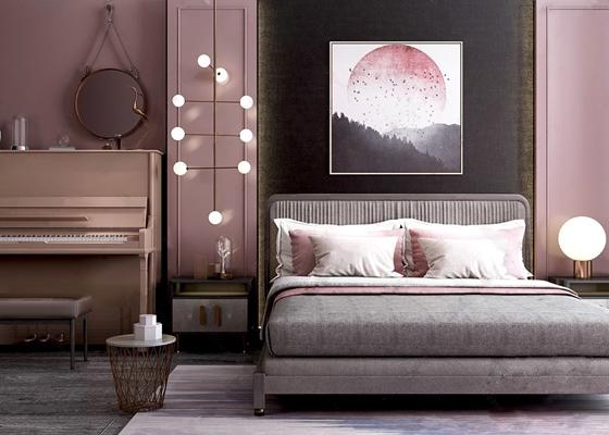 现代双人床钢琴挂画组合 现代双人床 床头柜 钢琴 挂画 装饰镜 地毯床品 台灯