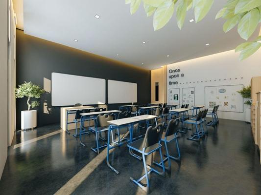 学校教室 现代学校 教室 书桌椅 铁艺椅子 黑白 讲台 绿植 储物柜