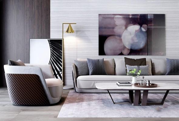 后现代新奢华沙发茶几组合 后现代组合沙发 茶几 落地灯 单人沙发 挂画 摆件