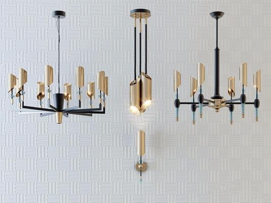 现代时尚简约吊灯组合 现代吊灯 金属吊灯 多头吊灯 壁灯
