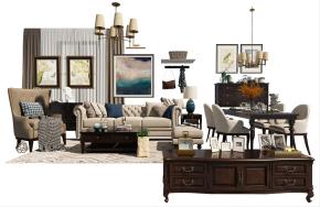 美式布艺沙发茶几餐桌椅电视柜吊灯组合3D模型