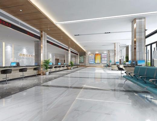 经济开发政务大厅 现代前台接待 休息椅 大厅 服务窗口 办公椅 装饰架 吧台 摆件