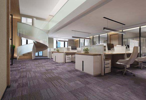 现代公共办公区 现代办公区 办公桌椅 吊灯 旋转楼梯