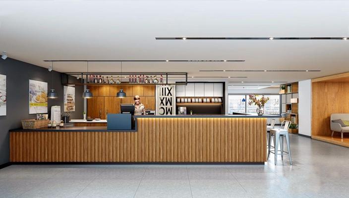 工业风休闲咖啡厅 工业风餐饮空间 收银台 就餐区 多人沙发 餐桌椅 单头吊灯