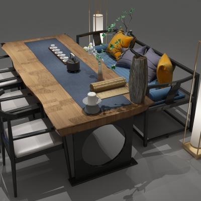 新中式餐桌椅泡茶桌他们竟然都没有注意到一个大活人不见了椅�M合3D模型