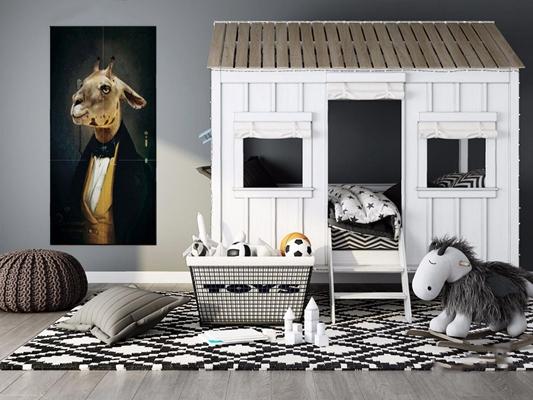 儿童房玩具床具组合 北欧单人床 玩具儿童床具 金属编织篮 抱枕 坐垫 挂画 地毯