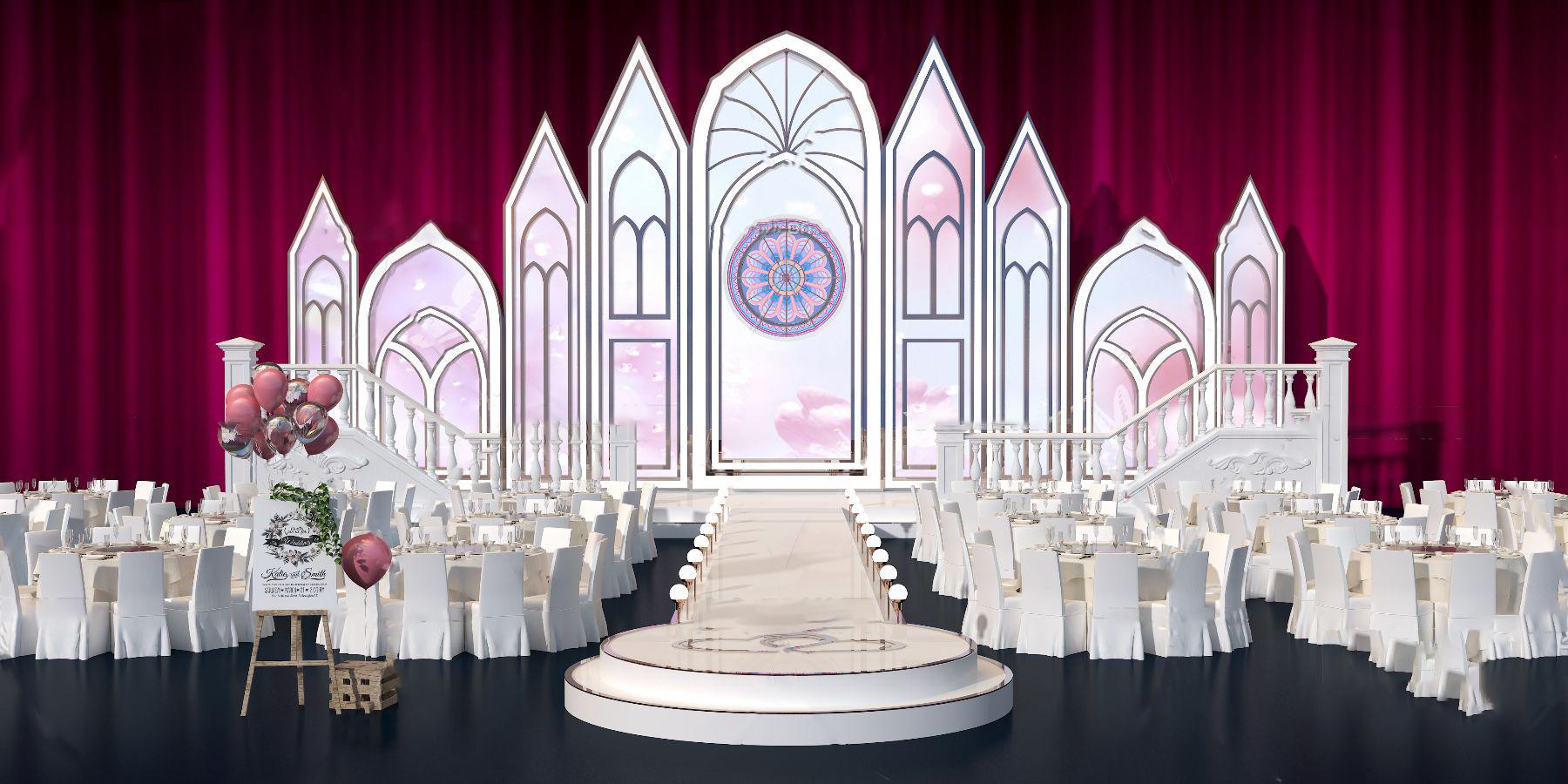 现代酒店婚礼舞台宴会3d模型