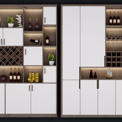 北欧实木酒柜组合3D模型
