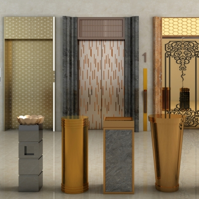 现代电梯门垃圾桶组合3D模型