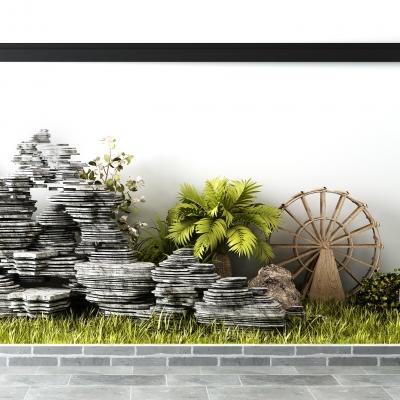 中式石头假山植物水车景观组合3D模型
