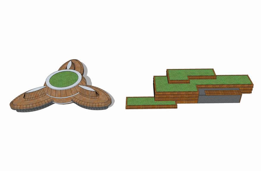 水池坐凳SU模型