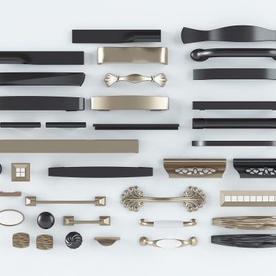 现代金属门把手组合3D模型