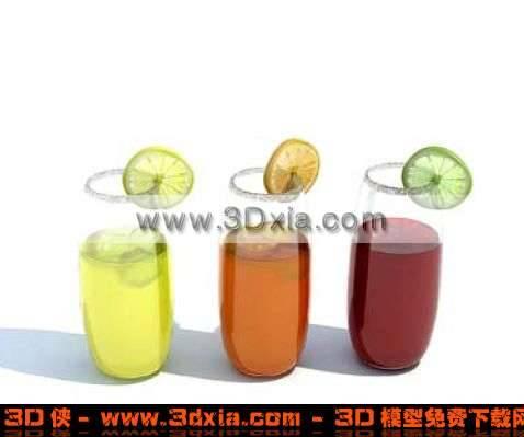 三杯漂亮的饮料3D模型