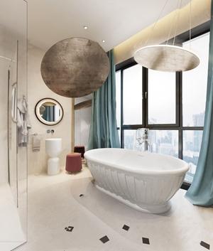 现代卫生间 现代卫浴 浴缸 窗帘 洗手台 凳子 浴袍