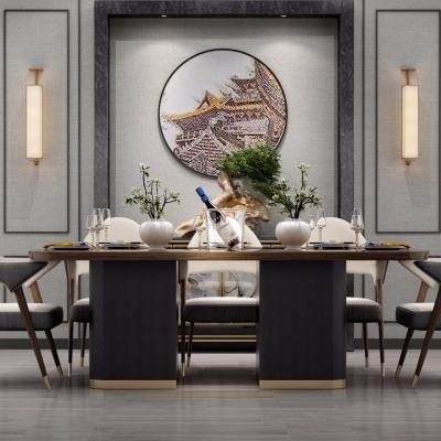 新中式实木餐桌椅餐具壁灯组合3D模型