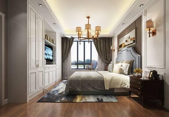 美式卧室3D模型 双人床 吊灯 窗帘