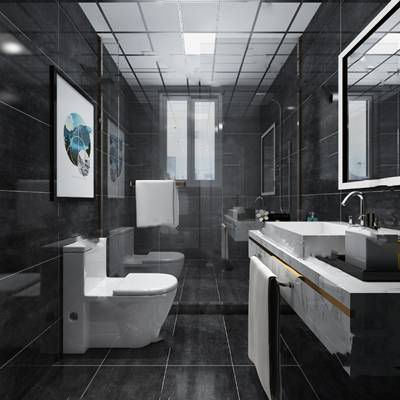 现代卫生间3D模型 洗手台 马桶 浴室