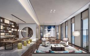 新中式会所茶室接待室3D模型