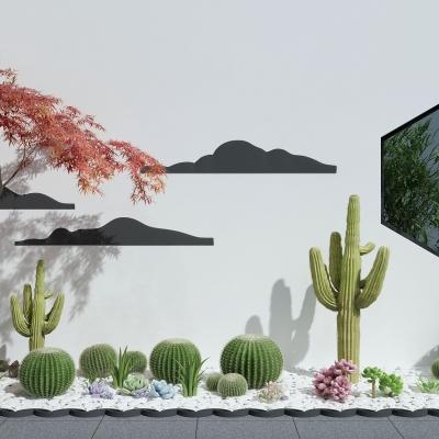 现代仙人掌多肉植物景观3D模型