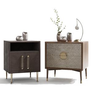新中式床头柜 新中式床头柜 饰品摆件 花瓶 台灯