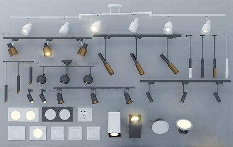 现代金属射灯筒灯开关面板插座3d模型