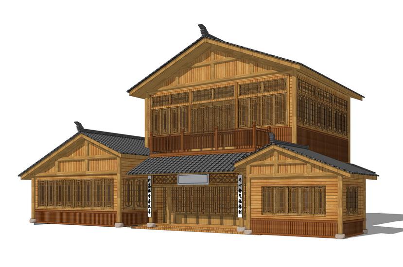 中式木屋SU模型