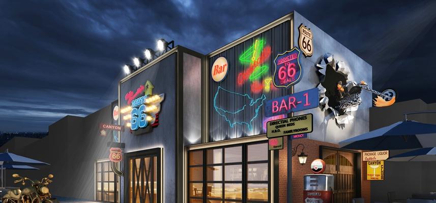 现代酒吧 现代筒灯射灯组合