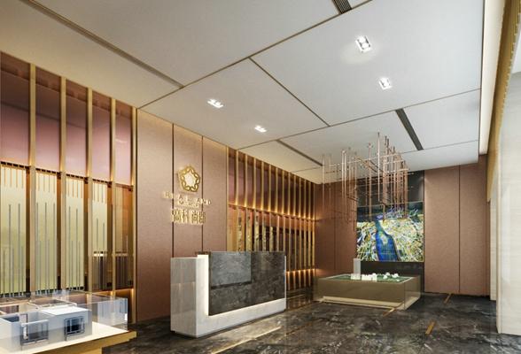 现代售楼处 现代长方形大理石前台桌