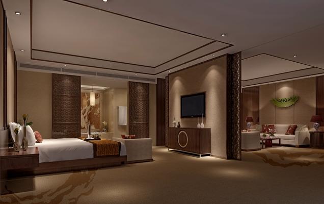 新中式酒店客房 新中式棕色木艺电视柜
