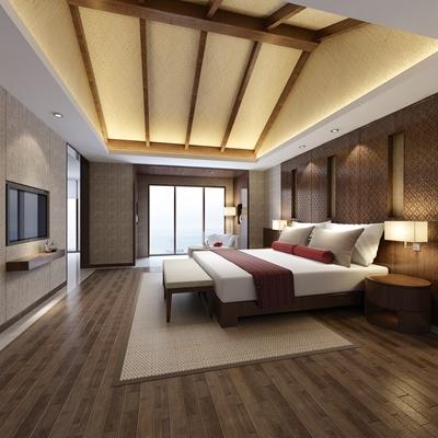 东南亚酒店客房 东南亚棕色木艺床头柜