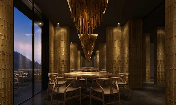 新中式原木色酒店宴会厅 新中式木艺吊灯 传统中式原木色木艺餐桌椅组合