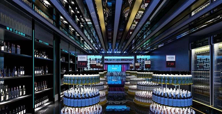 现代酒吧 酒架