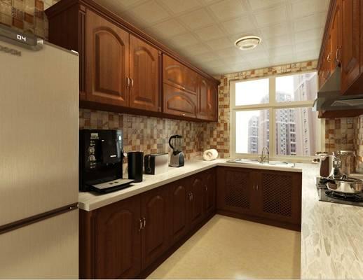 美式简约家居封闭厨房 美式简约棕色木艺厨房壁柜