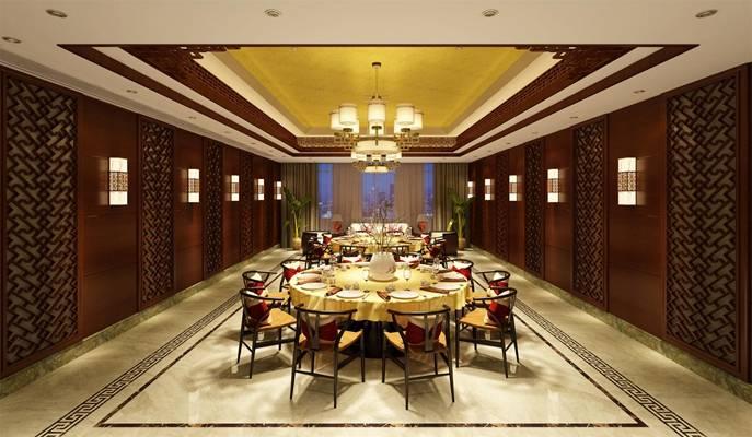 新中式酒店宴会厅 新中式玻璃吊灯 新中式木艺餐桌椅组合