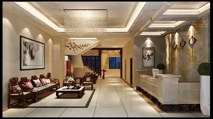 中欧混搭酒店大堂 传统中式原木色木艺沙发茶几组合 现代透明水晶吸顶灯