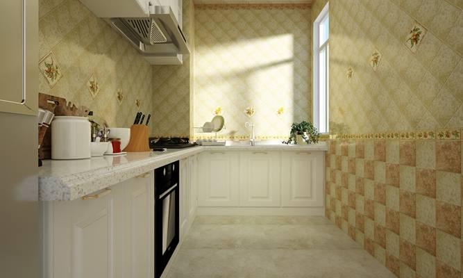 欧式简约暖色家居封闭厨房 欧式简约白色木艺橱柜组合 餐具组合