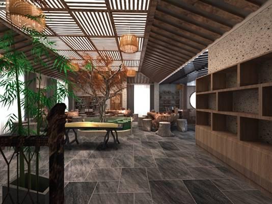 新中式原木色茶馆 传统中式原木色木艺根雕茶海 原木色木艺古筝