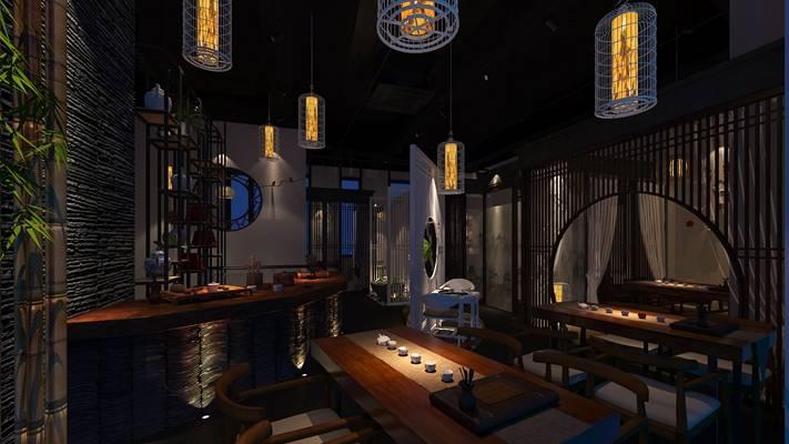 新中式原木色茶馆 新中式原木色木艺前台桌 白色茶壶茶杯组合