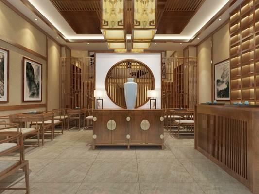新中式茶馆 新中式棕色木艺装饰柜 陶艺花瓶