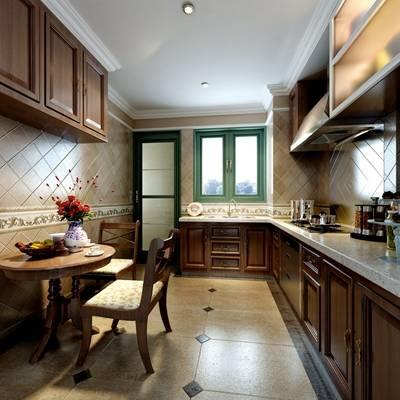 美式简约家居封闭厨房 美式简约棕色木艺餐桌椅组合