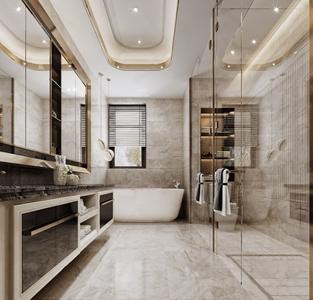 现代轻奢卫生间 现代卫浴 洗手台 马桶 卫浴柜 浴缸 吊柜 单头吊灯 台盆柜